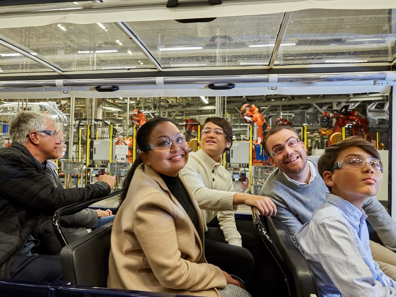 Visitors taking the factory tour at Volvo Torslanda plant in Gothenburg.