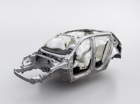 すべてのエアバッグが膨らんだボルボ車体の図