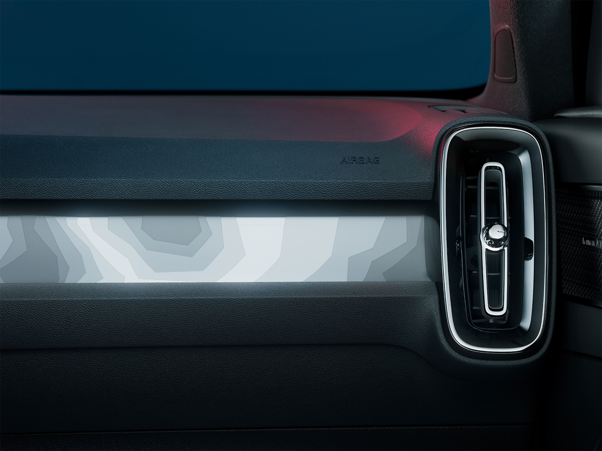 A close-up image of the front pixel lights of the C40 Recharge.