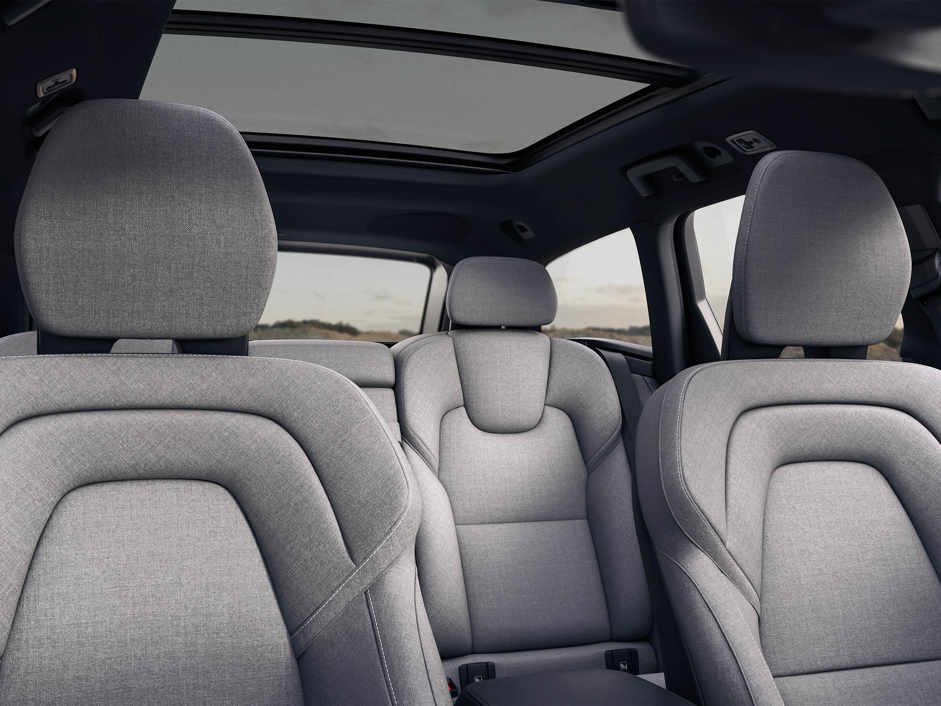 Inside a Volvo Estate, 5 seats with wool blend midnight zink interior
