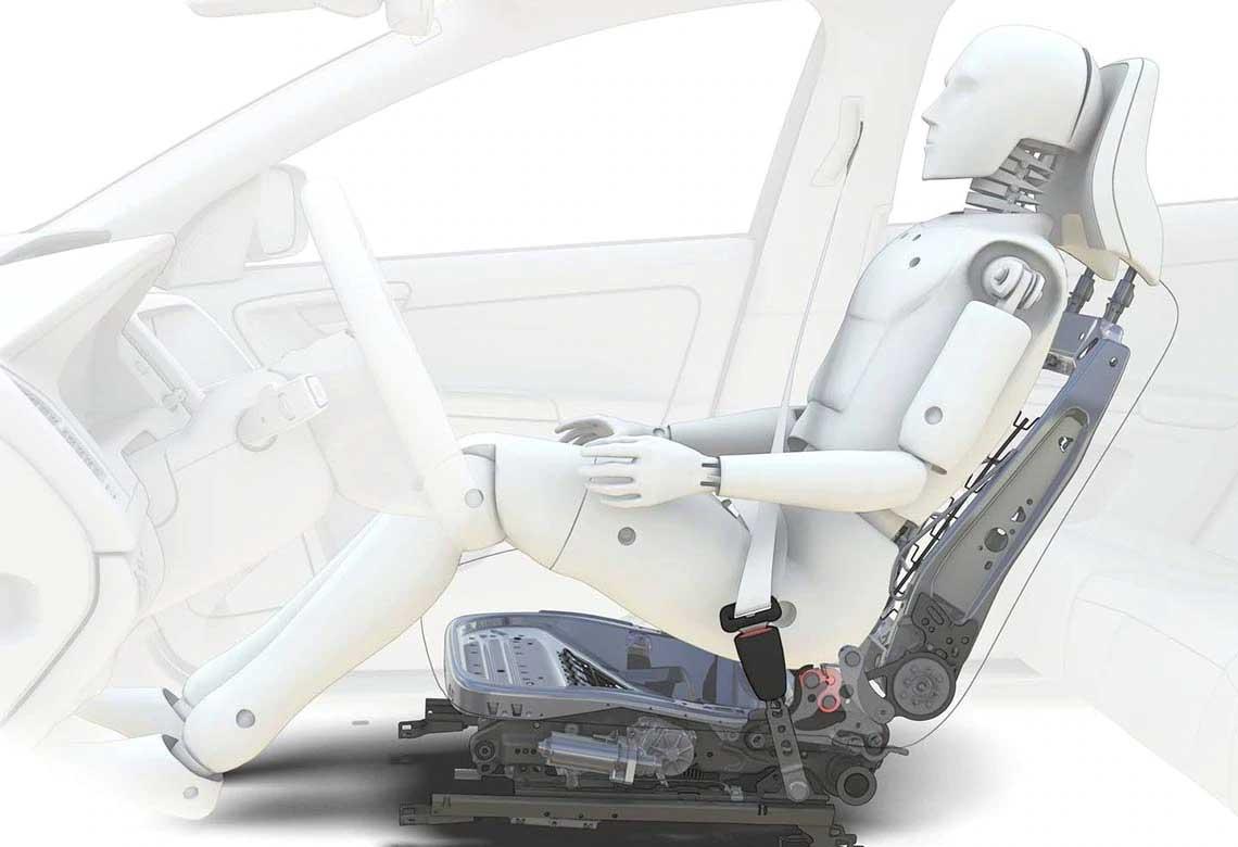 Illustratie van het Whiplash Protection System van Volvo Cars.