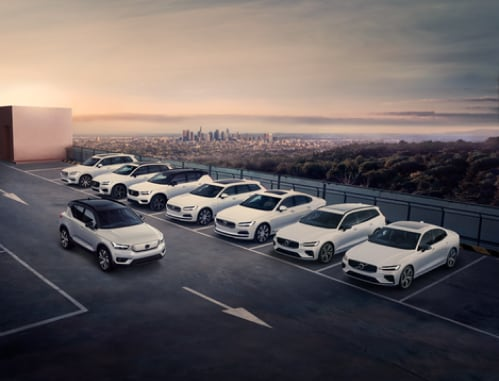 Het volledige modelgamma van Volvo Cars met de XC90, XC60, XC40, V90, S90, V60, V90 en XC40.