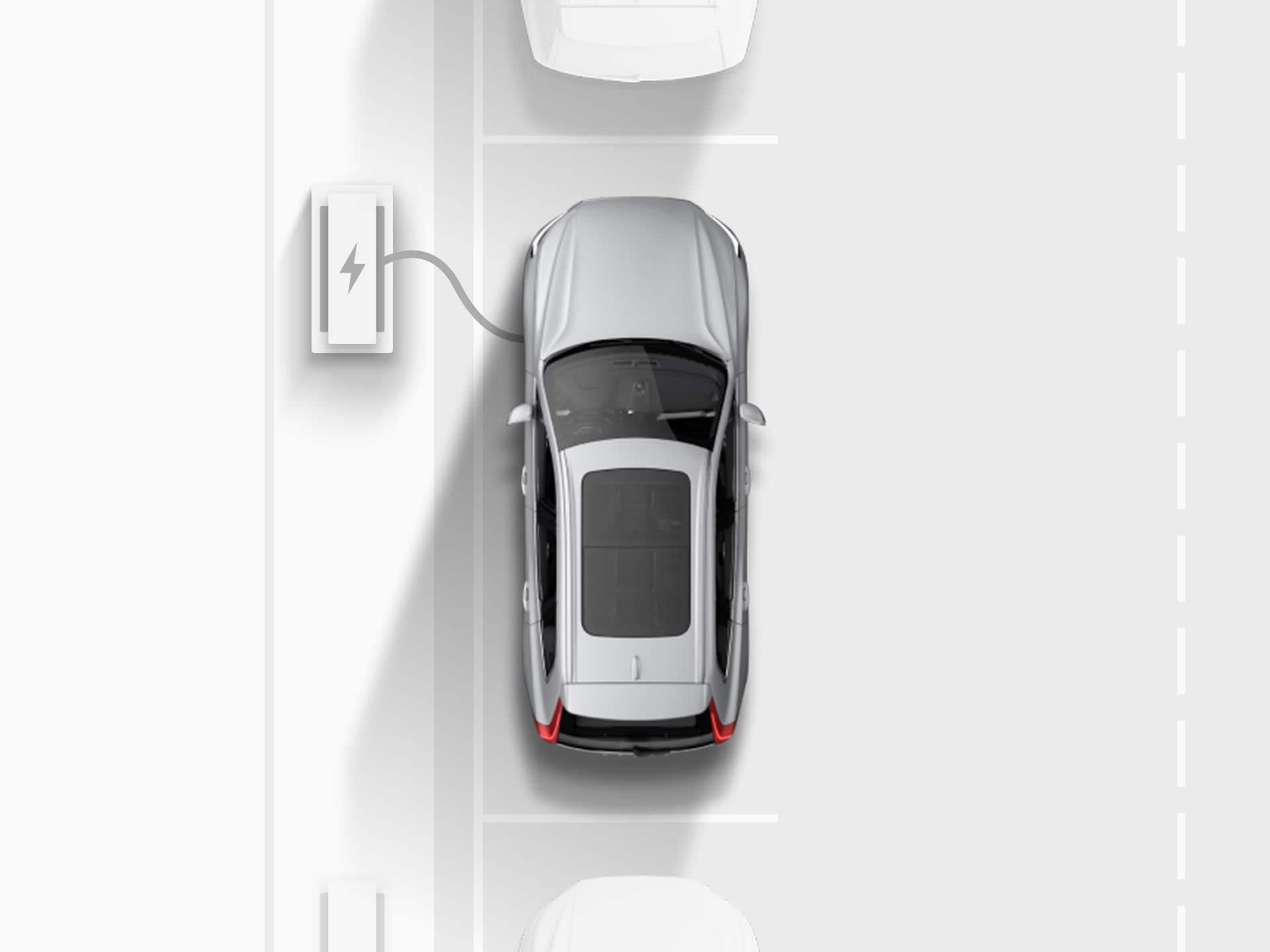 Bovenaanzicht van een digitale tekening van een zilverkleurige Volvo XC40 Recharge Pure Electric SUV die aan een laadstation oplaadt terwijl hij parallel op een openbare weg is geparkeerd.