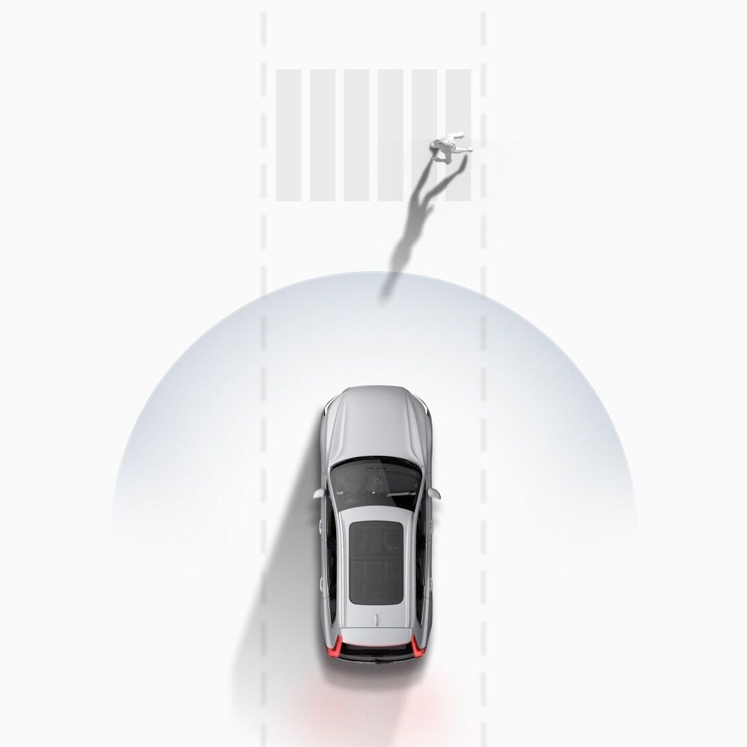 Volvo Cars' system for å unngå kollisjon, grafisk illustrert.