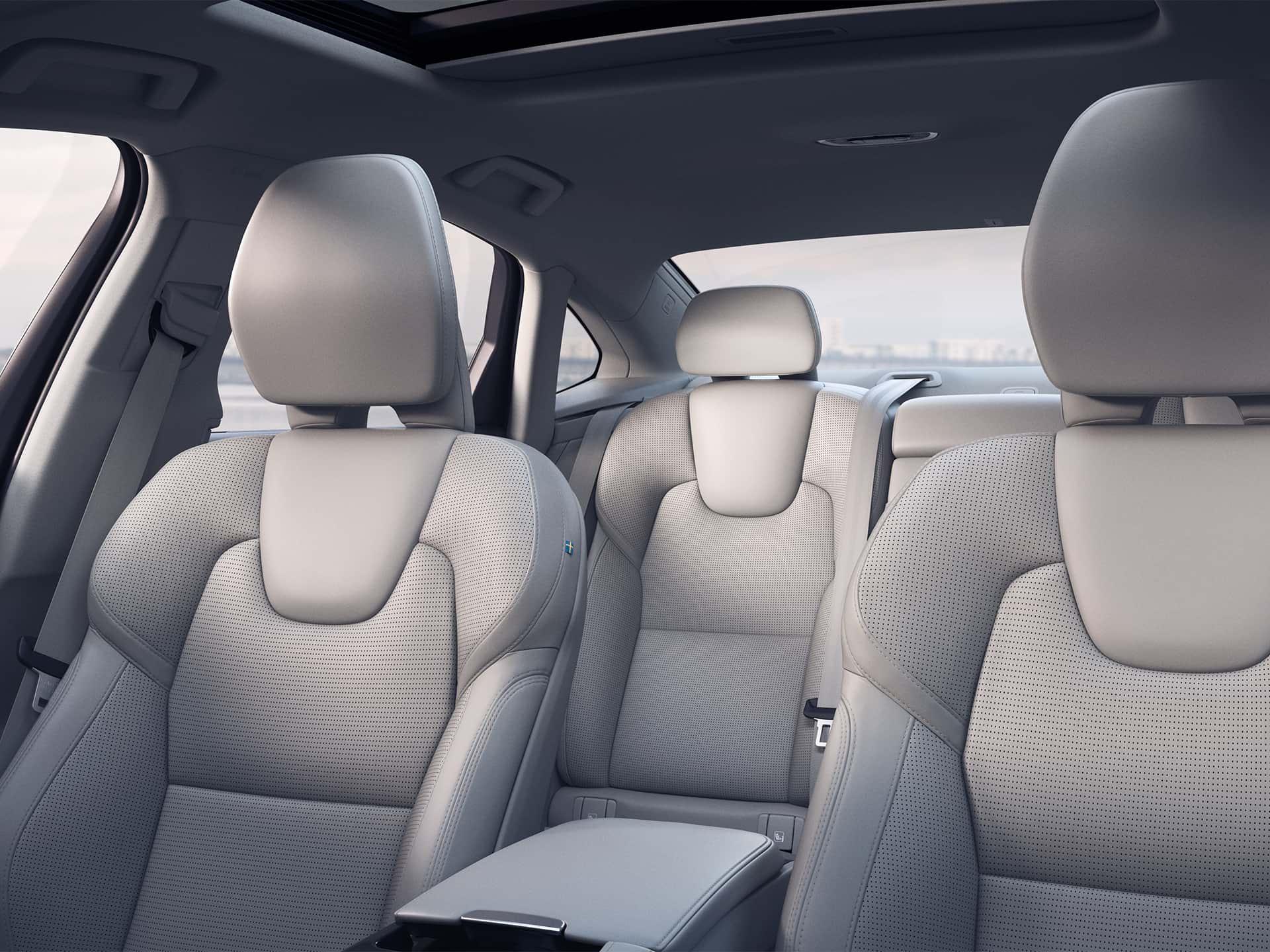 Inside a Volvo Sedan, beige blond interior