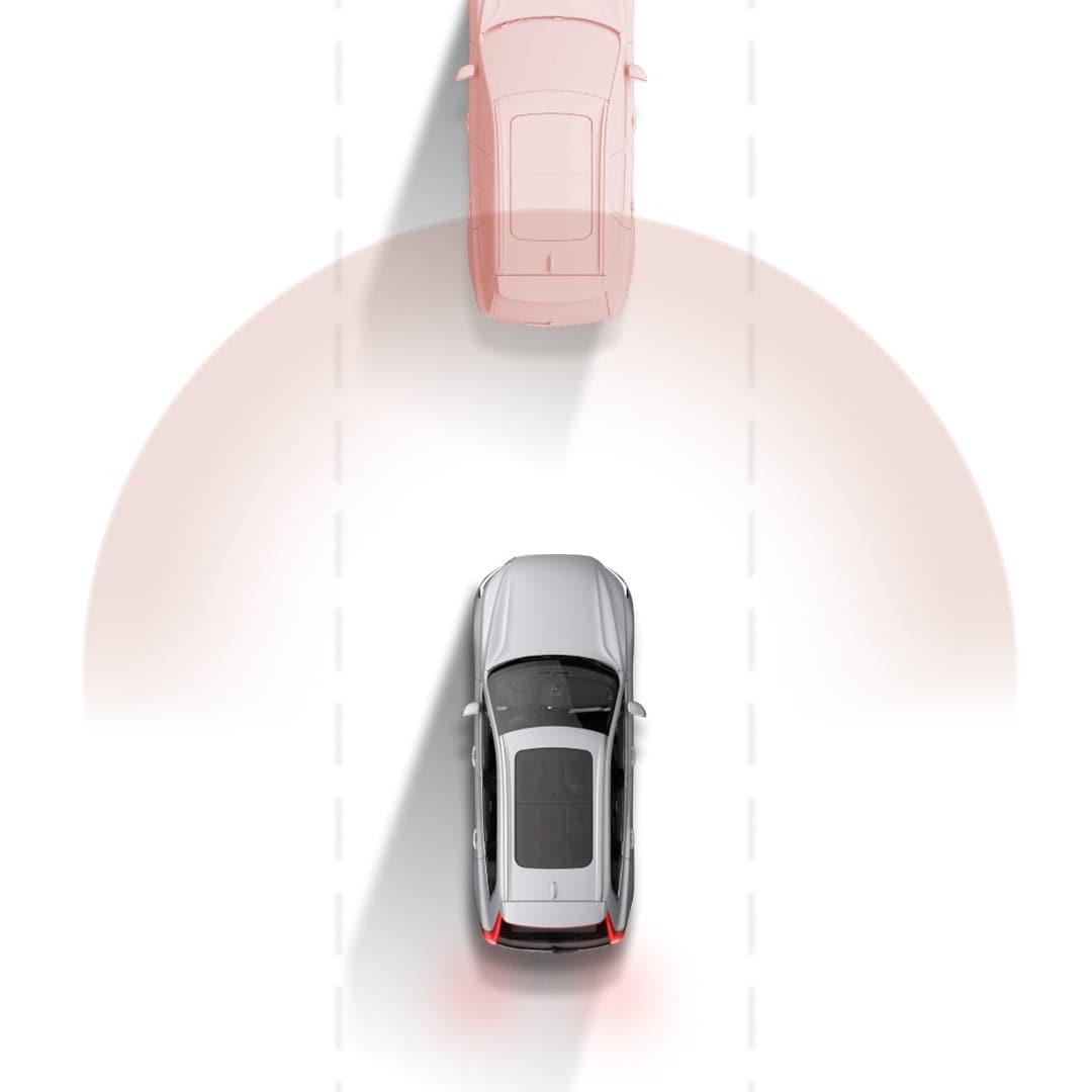 O sistema city safety da Volvo Cars ilustrado graficamente.