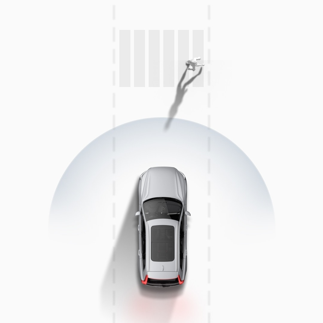 Volvo Cars' collision avoidance system graphically illustrated.