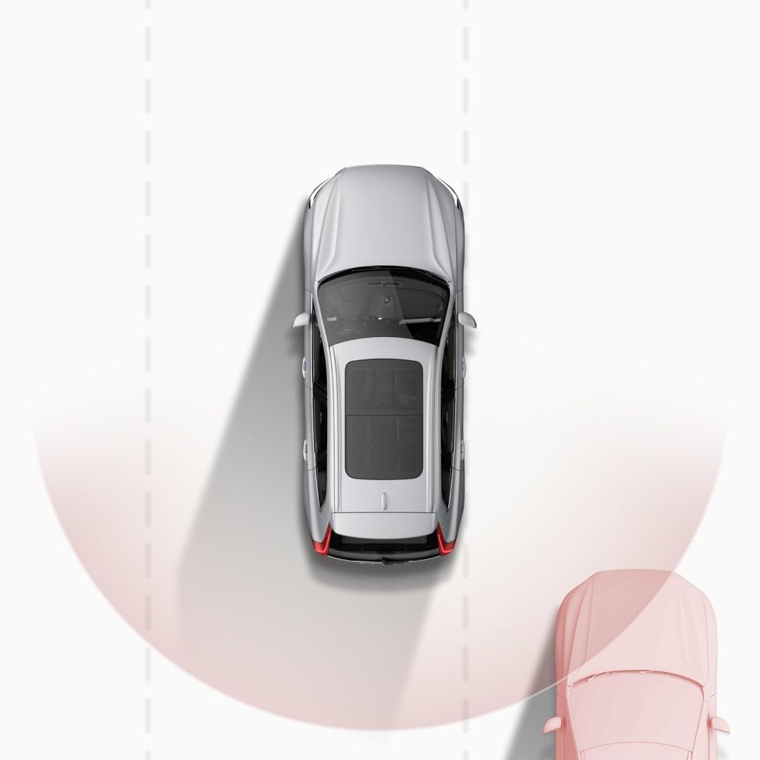 ภาพประกอบแสดง Blind Spot Information System ในขณะแจ้งเตือนว่ากำลังมีรถเข้าใกล้จากทางด้านหลังในเลนที่อยู่ติดกัน