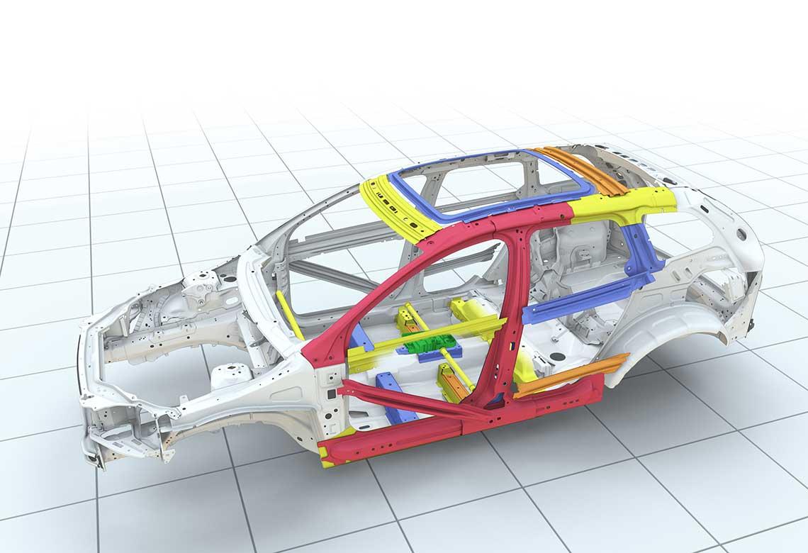 Volvo Cars 側撞防護系統示意圖。