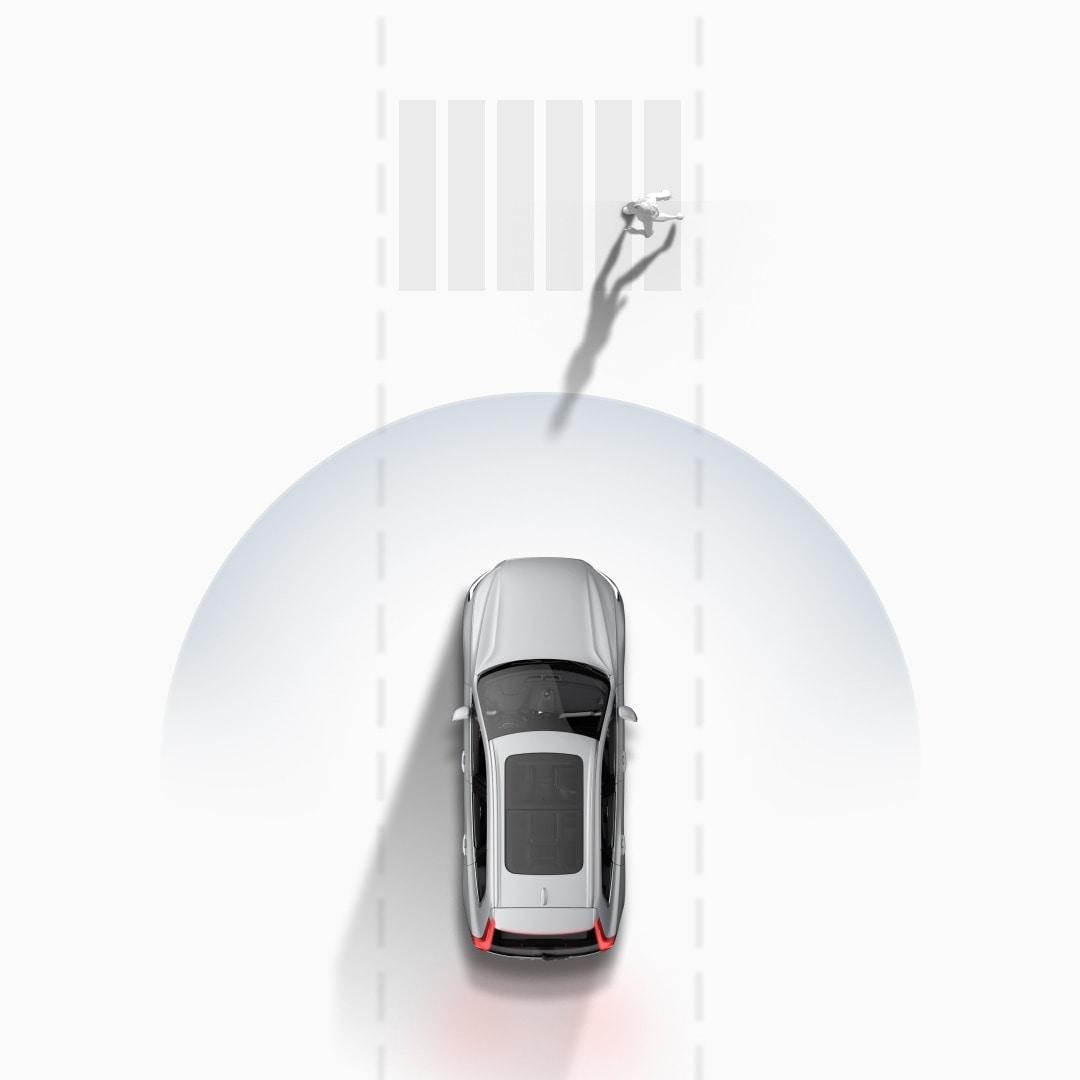 Volvo Cars 的碰撞警示系統示意圖。