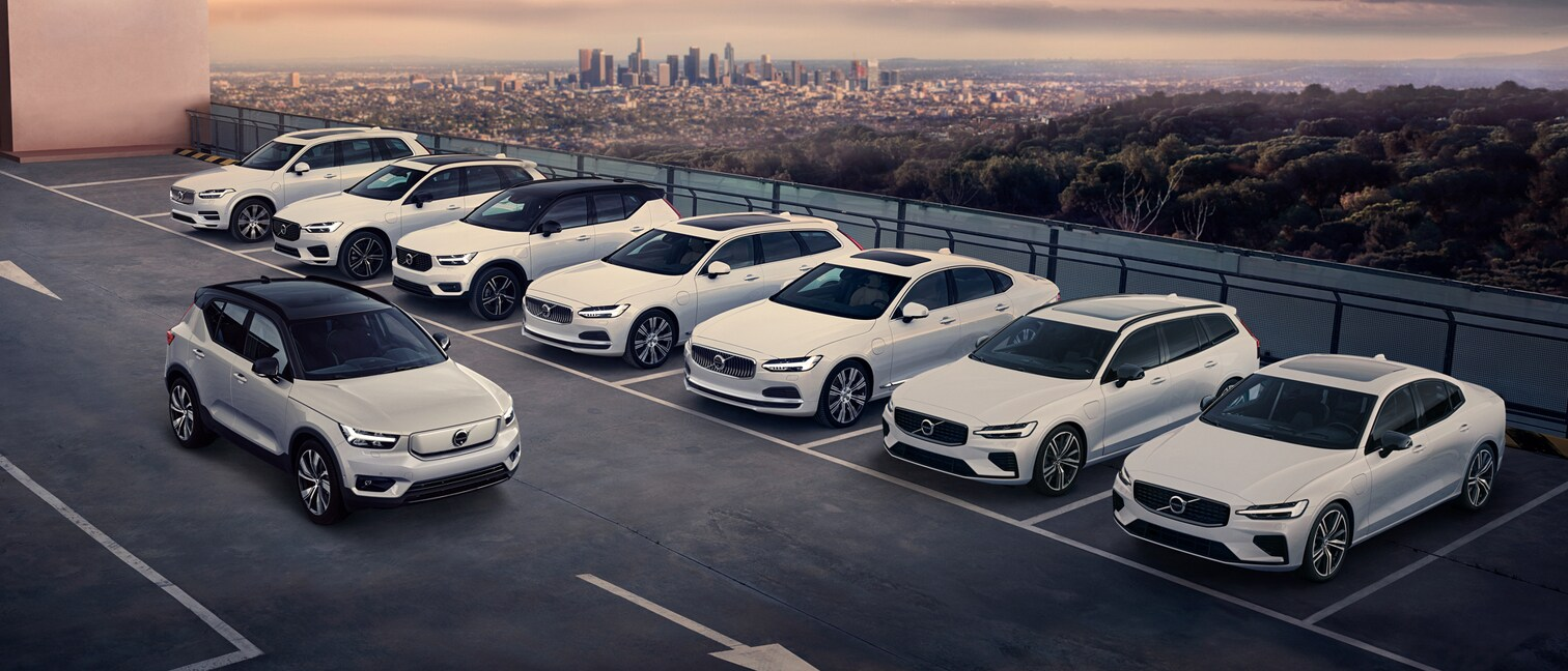 The Volvo range including pure electric and plug-in hybrid models