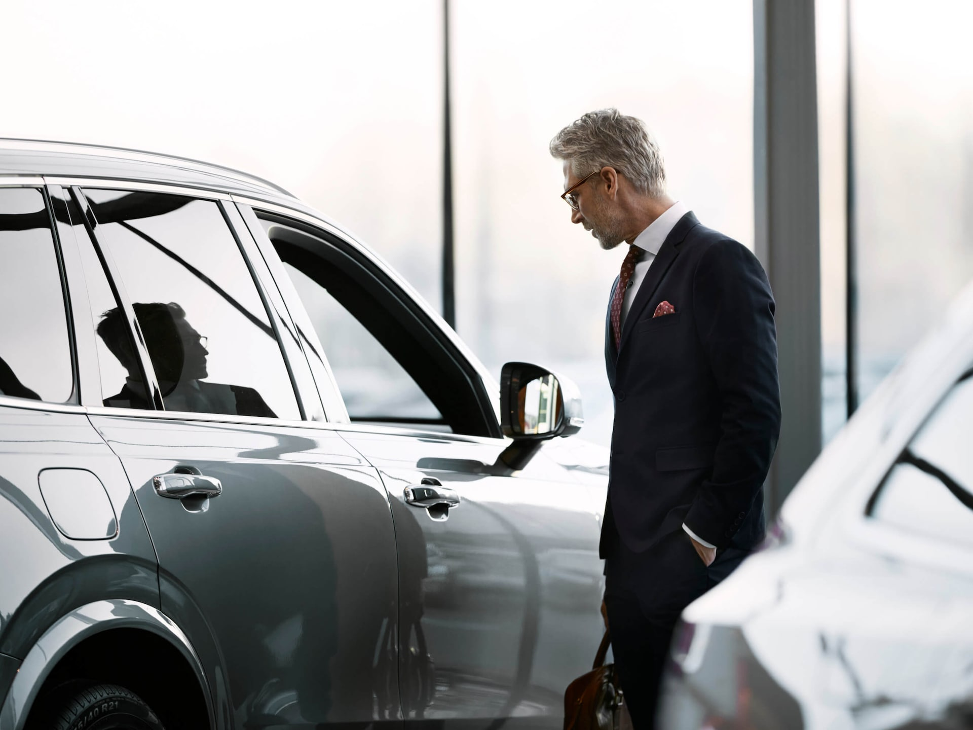 A man in Volvo Showroom