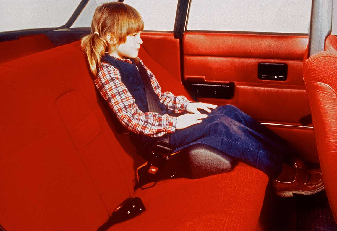 Volvo Cars' first booster cushion in 1978.