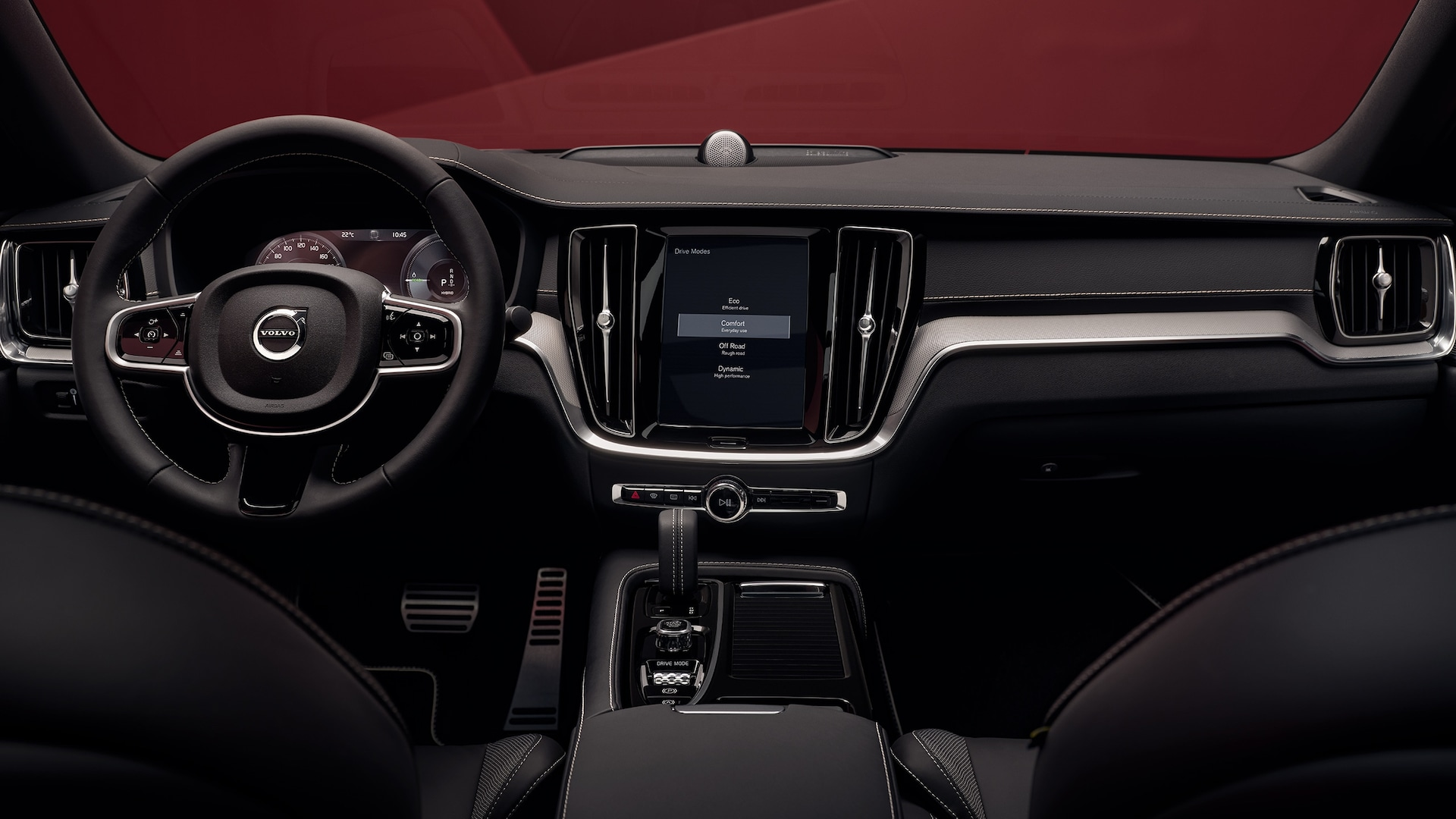 Black interior of a Volvo S60 Sedan
